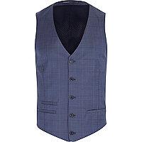 Blue subtle check waistcoat