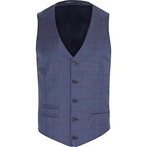 Blue subtle check wool-blend vest