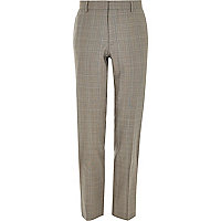 Brown check wool-blend slim suit trousers