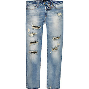 Light wash distressed Dylan jeans