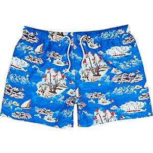 Blue Hawaiian print swim shorts