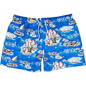 Blue Hawaiian print swim trunks