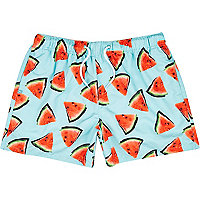 Aqua watermelon print swim shorts