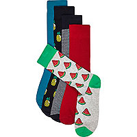 Blue mixed fruit socks pack
