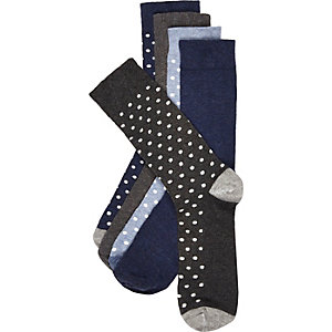 Navy and grey polka dot sock 5 pack