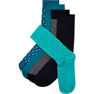 Green mixed print socks 5 pack