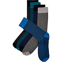 Blue textured socks 5 pack