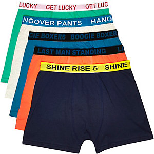 Green slogan boxer shorts pack