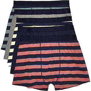 Navy striped boxer shorts pack