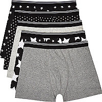 Black star print boxer shorts pack