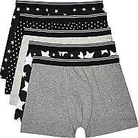 Black star print boxer shorts pack