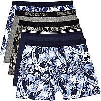 Navy Hawaiian print boxer shorts pack