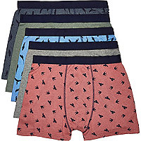Red bird print boxer shorts pack