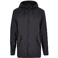 Black rubberised mid weight hooded jacket