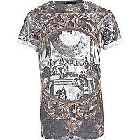 Grey baroque print t-shirt