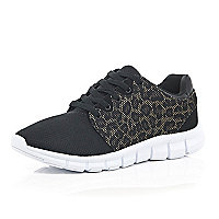 Black leopard panel trainers
