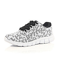 White geometric print trainers