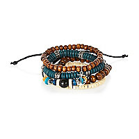 Blue brown beaded bracelet pack