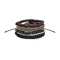 Navy beaded woven bracelet pack