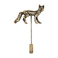 Gold tone fox lapel pin