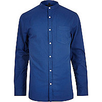 Blue long sleeve grandad collar Oxford shirt