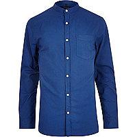 Blue long sleeve grandad collar Oxford shirt