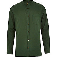 Green long sleeve grandad shirt