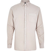 Ecru long sleeve Oxford shirt