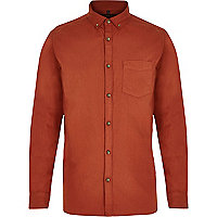 Orange long sleeve Oxford shirt