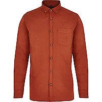 Orange long sleeve Oxford shirt