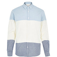 Blue block colour Oxford shirt