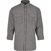Black fine check print shirt