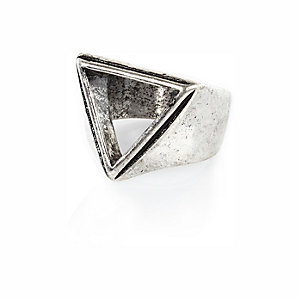 Silver tone cut out triangle ring