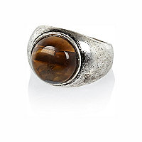 Silver tone tiger eye round ring