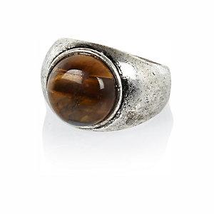 Silver tone tiger eye round ring