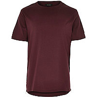 Red zip trim curved hem t-shirt