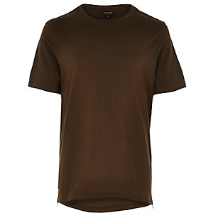 Green zip trim curved hem t-shirt