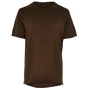 Green zip trim curved hem t-shirt