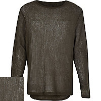 Green long sleeve crew neck knitted jumper