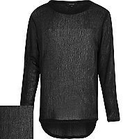 Black long sleeve crew neck knitted jumper