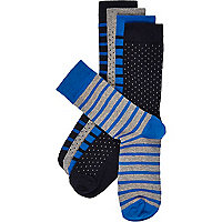 Navy striped socks pack