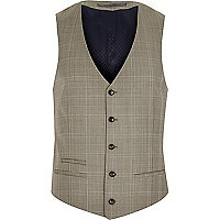 Brown check wool-blend slim waistcoat