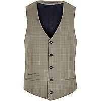 Brown check slim waistcoat