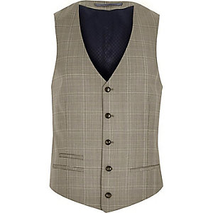 Brown check wool-blend slim vest
