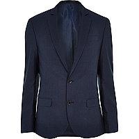 Blue tailored slim suit jacket