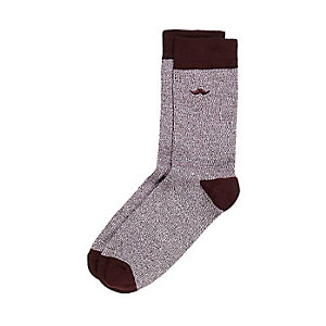 Red moustache icon socks