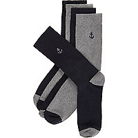 Navy anchor icon socks pack