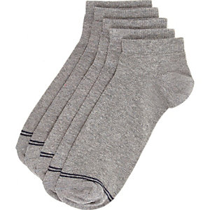 Grey navy tipping trainer socks pack