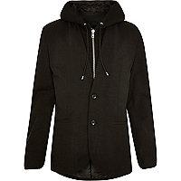 Black hooded blazer