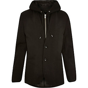 Black hooded blazer